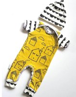 Cheap Infant Toddlers Baby Climb Clothing Children Pure Cotton Little Dream House Print Jumpsuits Cute Babies Pure Cotton Bodysuits