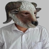 adult sheep costume - Halloween Mask Masquerade for Adult Fashion Sheep Goat Mask Latex Full Head Animal Masquerade Carnival Party Ball Cosplay Costume