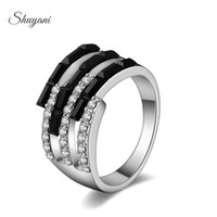 Wholesale SHUYANI Silver Gold Plated Crystal Rings Fashion Jewelry Sapphire Rings for Women Men Wedding Rings Jewelry