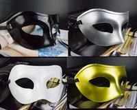 april wedding dresses - Men s Masquerade Mask Fancy Dress Venetian Masks Masquerade Masks Plastic Half Face Mask Optional Multi color Black White Gold Silver
