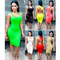 Wholesale European Style Pure Colors For Choose Summer Sexy Night Out Club Bodycon Dresses For Woman New Skirt Backless Top