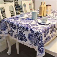 Wholesale hot Blue And White Porcelain Table cloth chinese style tablecloth Linen Pastoral style Table cloth use Home Banquet