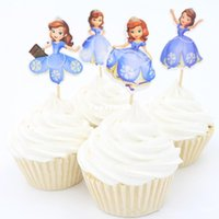 Wholesale 2016 new style Princess sofia Cupcake Topper Picks for wedding decoration baby shower kids birthday party favor cake decoration