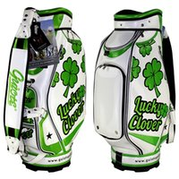 Wholesale PU Leather Luxury Golf Staff Bag for Man and Woman Golf Cart Bags with Embroidery Design Custom Made Logos Lucky Clovers