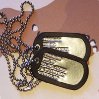 army dog tags - 30sets Edge curling Army Dog Tags tags silencers chains Blank Military Dog Tags for boys