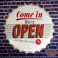 antique gallery - Come in we re open Tin Round signs Coffee Pub Club Gallery Beer Bottle Cap Poster Vintage Plaque Wall Cafe Decor cm RD