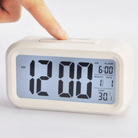 Wholesale Electronic LED Digital Thermometer Snooze Calendar Alarm Clock Backlight Control Desk Hour Colors Avialable
