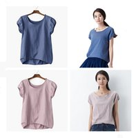 Wholesale Summer Latest Ladies Scoop Neck Puff Sleeve Linen Blouses New Designs Casual Tops