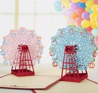 Wholesale 15 cm Ferris wheel Birthday Card D Greeting Cards Red Laser Cut Birthday Gift Greeting Cards hot sale