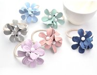 Wholesale New hair jewellery Three color pearl camellia hair rings fresh elastics pony tails holder