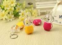 animal crossing plush toys - whilesale Yiwu creative children s toys Hot Funny little rabbit keychain flash night market stall supply