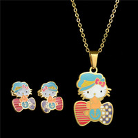 anchor blue jewelry - Factory Direct Cartoon Kids Jewelry Stainless Steel Chain Gold Sailor Anchor Jewelry Sets Hello Kitty Cute Cat Necklace Set