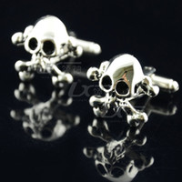 Wholesale Super Cool Men s Jewerly Creative Realistic D Silver Skull Cufflinks Cuff Links with no Gift Box