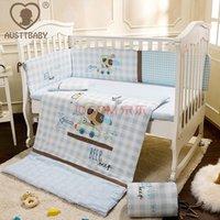 Wholesale Cot bedding set Baby bedding set Crib bedding set Embroidery light blue cartoon dog cotton Quilt Pillow Bumper Bed sheet item