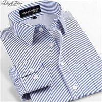 Wholesale Men Shirt Dress Striped Turn Down Collar Solid Long Sleeved Plaid Shirt For Men Chemise Homme Camisas Assorted Patterns DS
