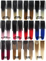 Wholesale Heat Resistance Synthetic inches Women Long two tone Straight Synthetic Hair Ponytail Ombre Ribbon Pony hail Extensions