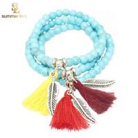beach stone jewelry - Beach Jewelry Newest Brand Buddha Turquoise Natural Stone Style Bohemian Beads Bracelets Tassel Bracelet With Leaf Charms for Women Girls