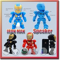 led button light - Iron Man model bluetooth speaker with LED Flash light Mini wireless subwoofers bluetooth support TF FM USB hot selling