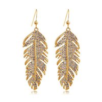 Wholesale Boho Alloy Feather Crystal Punk Earrings Brincos For Women Gold Silver Plated Statement Earrings Pendientes Largos Dangle