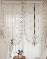 Wholesale Window Curtains Pink Flowers Piece Roman Curtain Embroidered for Kitchen and Living Room x
