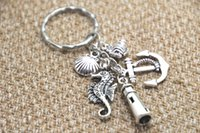 Promotion beach silver jewelry - 12pcs Beach Keychain fish anchor lighthouse seashell seahorse charm Key Ring Jewelry silver tone