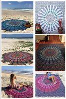 Wholesale Indian Mandala Round Roundie Beach Throw Tapestry Hippy Boho Gypsy Cotton Tablecloth Beach Towel Round Yoga Mat Chiffon Beach Pad