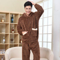 Pajama Sets bear pajama - free couple Winter Ladies men Long Sleeves Thick Warm Coral Velvet Suit Home Furnishing Cute Bear Biscuits Softs Pajamas Sets