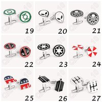 Wholesale 500pair CCA3850 High Quality Designs Vogue Cufflinks Superman Star Wars Deadpool Spiderman Cufflinks Mens Jewelry Metal Alloy Cuff Link