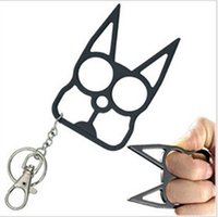 Wholesale Novelty Self Defense Keychain with Cat Ear New Designer Car Key Pendants U Shape Metal Chains Promotion Key Rings DHL NAR041