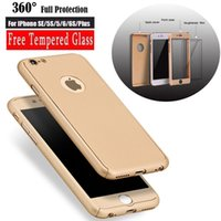 Wholesale Ultra thin Hybrid Degree Full Body Coverage Protective Case Cover with Tempered Glass Screen for iPhone S Plus SE S Retail Package