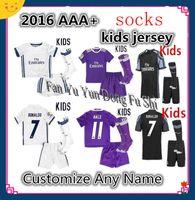 american youth soccer - 2016 Real madrid Kids soccer Jersey Youth Child RONALDO home white away Purple Sets JAMES BALE RAMOS ISCO football shirt free socks