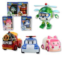 Wholesale Children s toys POLI Deformation of the robot Deformation of the car A set of four Plastic toys The police car
