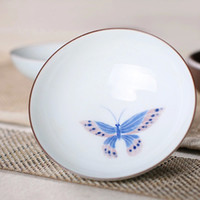 Wholesale Purely Manual Ceramic Tea Cup Hand painted Small Bowl Kung Fu Teacup With Butterfly Pattern Slim Porcelain Cup