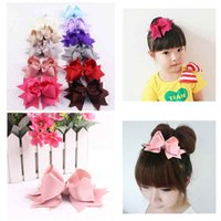 Wholesale Hot Sale inch Grosgrain Ribbon Hair Bows With Clips Girl Student Pinwheel Baby Hair Accessories Various Colors