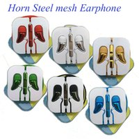 android mesh - Horn Steel Mesh Earphone Earset With Remote Mic Volume Control For IPhone Se s s Samsung Android Mobile EAR189