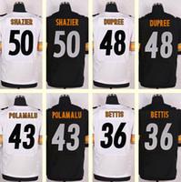 Wholesale 2016 New Men s Ryan Shazier Troy Polamalu Bud Dupree Jerome Bettis Black White Elite jerseys Top Quality