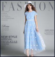 Wholesale Dress Summer New arrival fashion elegant embroidered gauze skirt Slim thin dress264