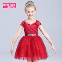 Wholesale vintage lace rustic red Girl s Pageant Gowns fluffy tulle ball gown flower girl dresses for weddings evening party