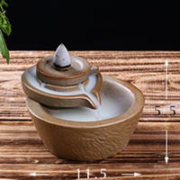 ceramic incense burner - Classical Ceramic Incense Glaze Smoke Cone Satanic Burner Backflow Stove Tower Censer Office Home Living Room Decoration Gift