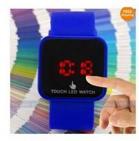 Wholesale Fashion Sport LED Watches Candy Color Silicone Touch Screen Digital Watch Electronic Bracelet Watch mirror Makeup Rubber Watches For Women