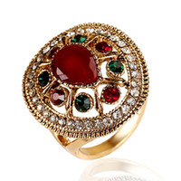 big rhinestone ring - 2016 Luxury Vintage Rings For Women Water Drop Rhinestone Resin Party Ring Hollow Big Stone Anelli Donna Anillos Mujer HJ9606