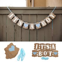 Other Holiday Supplies baby boy decorations - Kraft Paper Baby Shower Banner Its A Boy Girl Birthday Party Garland Baptism Nursery Christening Decos Paper Photo Booth Props