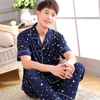 bamboo pajama pants - New Men Pajama Sets spring amp summer plus size cotton short sleeve amp Long pants male pijamas home wear clothes for