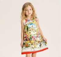 beautiful frocks for girls - Kids Dress Print Flower Party Dresses For Girls Princess Vest Fashion Girl Beautiful Teenage Ball Gowns Meisjes Frock Fille