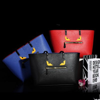 Wholesale New brand Little Monster eyes design women shoulder bags lady Litchi skin tote female waterproof bag red blue black color