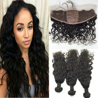 Cheap 8A Brazilian Silk Base Lace Frontal Closures With Bundles Unprocessed Water Wave Human Hair Weave With 13X4 Silk Top Lace Frontal 4Pcs Lot