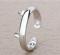 al por mayor joyería de las mujeres jóvenes-Anillo de gato lindo de la joyería de la manera del diseño del anillo de oído del gato para los regalos del niño de la niña de las mujeres ajustable Anel HJIA856