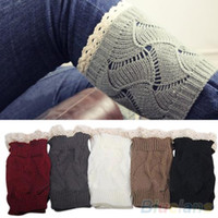 Wholesale New Style Women s Hollow Crochet Knitted Lace Trim Boot Toppers Cuffs Leg Warmers Socks
