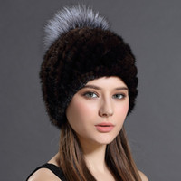 Wholesale New fashion natual real mink fur hat for women winter knitted mink fur beanies cap With lining with silver fox fur pom pom