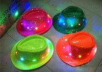 Wholesale Novelty Flashing LED Hat Jazz Stage Show Cap for Halloween and Christmas Party Hip Hop